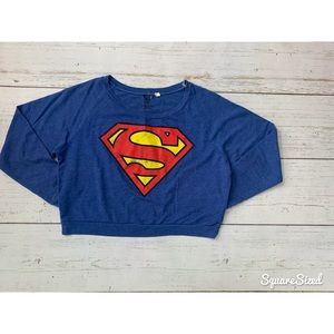 Distressed Superman crop sweater